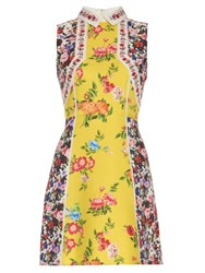 Mary Katrantzou Amore Floral Print Silk And Cotton Blend Dress Yellow Print