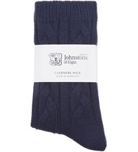 Johnstons Cable Knit Cashmere Socks Velvet