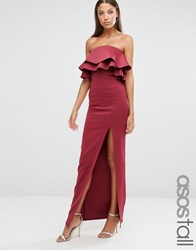 Asos Tall Premium Ruffle Bandeau Scuba Maxi Dress Burgundy Red