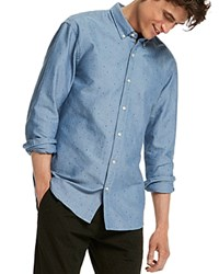 Scotch And Soda Triangle Oxford Slim Fit Button Down Shirt Blue