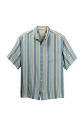 Tommy Bahama Seas The Moment Silk Striped Camp Shirt Big And Tall Green