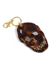 Alexander Mcqueen Mirrored And Studded Acrylic Skull Keychain Tortoise