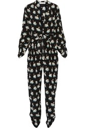 Stella Mccartney Monia Printed Silk Crepe Jumpsuit Black