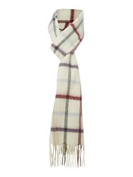 Barbour Bolt Tattersall Cashmere Mix Scarf Cream