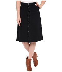 Lucky Brand High Rise Button Front Skirt Black Overdye Women's Skirt
