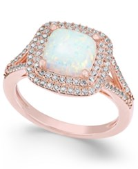 Macy's Lab Created Opal 1 3 8 Ct. T.W. And White Sapphire 1 2 Ct. T.W. Ring In 14K Rose Gold Plated Sterling Silver
