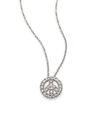 Roberto Coin Tiny Treasures Diamond And 18K White Gold Mini Peace Sign Pendant Necklace No Color