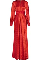 Temperley London Helm Embroidered Silk Satin Maxi Dress