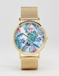 Reclaimed Vintage Floral Mesh Strap Watch In Gold Gold