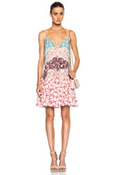 Stella Mccartney Printed Tank Dress In Abstract Red Floral Animal Print