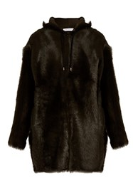 Ines And Marechal Antoine Hooded Lamb Fur Coat Green