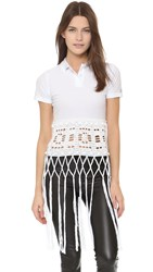 Michaela Buerger Donna Sophia Crochet Polo Top White