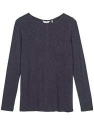 Fat Face Maltby Button Back Top Navy