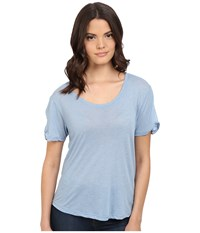 Splendid Heathered Tee Faded Denim Women's T Shirt Blue
