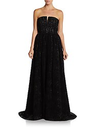 Alice Olivia Axmis Lace Bustier Gown Black