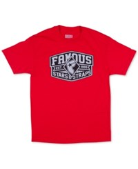 Famous Stars And Straps Men's Knock Out Graphic Print Logo T Shirt Red