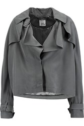 Iris And Ink Lynette Cropped Cupro Trench Coat Gray