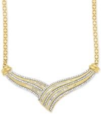 Macy's Diamond V Fancy Collar Necklace 1 2 Ct. T.W. In 14K Gold Plated Sterling Silver