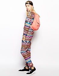 Jaded London Skinny Sweatpants With Aztec Festival Print Multi