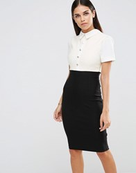 Vesper Pencil Dress With Button Up Top Black Ivory