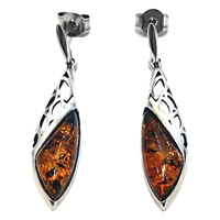 Goldmajor Amber And Sterling Silver Drop Earrings Amber