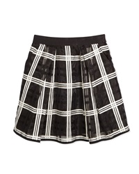 Milly Minis Kati Embroidered Organza Pleated Skirt Black White Size 8 14