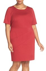 Ellen Tracy Plus Size Women's Seam Detail Elbow Sleeve Ponte Sheath Dress Red