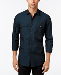 Inc International Concepts Men's Piesky Long Sleeve Shirt Only At Macy's Dark Teal
