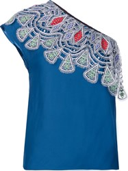 Peter Pilotto Embroidered One Shoulder Top Blue