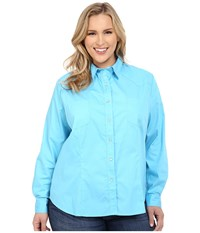 Roper Plus Size 0282 Solid Poplin Blue Women's Clothing