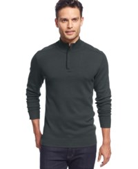 Alfani Red Solid Slim Fit Quarter Zip Sweater Black Ice