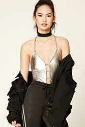 Forever 21 Metallic Plunging Bodysuit Silver