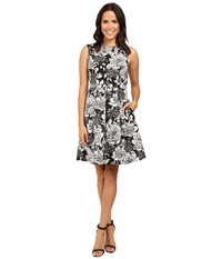 Adrianna Papell Lined Antique Elegance Printed Faille Fit And Flare Dress Black Multi Women's Dress