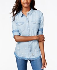American Rag Ripped Button Front Denim Shirt Only At Macy's Poppy Wash