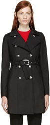 Versus Black Double Breasted Trench Coat