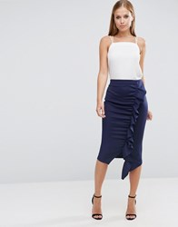 Asos Longer Length Scuba Pencil Skirt With Ruffle Detail Navy Blue