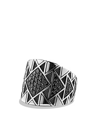 David Yurman Frontier Signet Ring With Black Diamonds Silver Black