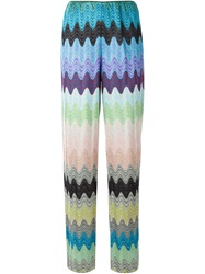 Missoni Signature Zig Zag Knit Wide Leg Trousers Blue