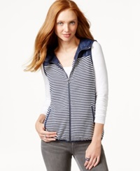 Tommy Hilfiger Sunday Hooded Striped Contrast Vest Core Navy