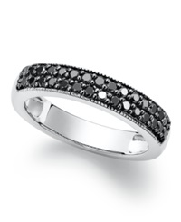Macy's Sterling Silver Ring Black Diamond Stackable Ring 1 2 Ct. T.W.