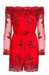 Quiz Red Sequin Mesh Bardot Playsuit Red