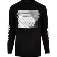 River Island Mens Black Metallic Print Long Sleeve T Shirt
