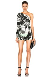 Norma Kamali One Sleeve Shoulder Dress In Green Gray White Abstract Green Gray White Abstract