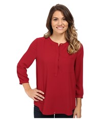 Nydj Petite Solid 3 4 Sleeve Pleat Back Carmine Women's Long Sleeve Pullover Red
