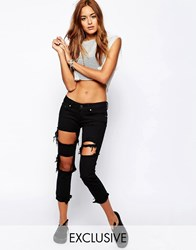 Liquor And Poker Skinny Jeans With Extreme Distressing Ripped Knees Black