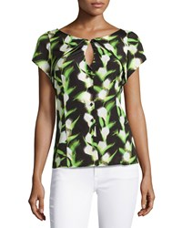 Zac Posen Short Sleeve Printed Keyhole Blouse Multi Color Blk Wht Ten Green
