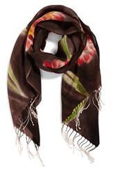 Women's La Fiorentina Floral Wool Scarf Brown Brown Combo