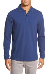 Men's Big And Tall Nordstrom Long Sleeve Pique Cotton Polo Blue Estate