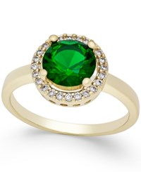 Charter Club Gold Tone Green Stone Pave Ring Only At Macy's