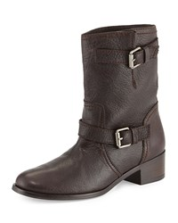 Delman Max Short Moto Boot Brown